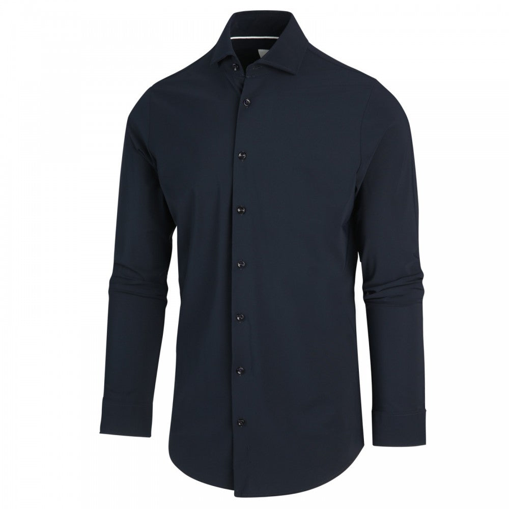 JERSEY BUTTON UP SHIRT (NAVY)- BLUE INDUSTRY