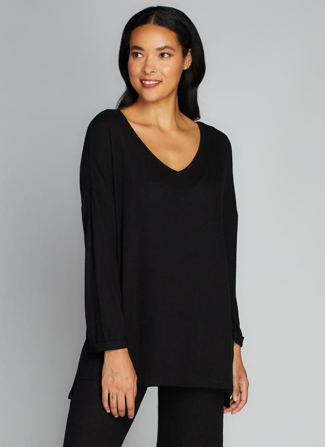 SOFT KNIT V NECK TOP (BLACK) - C'EST MOI