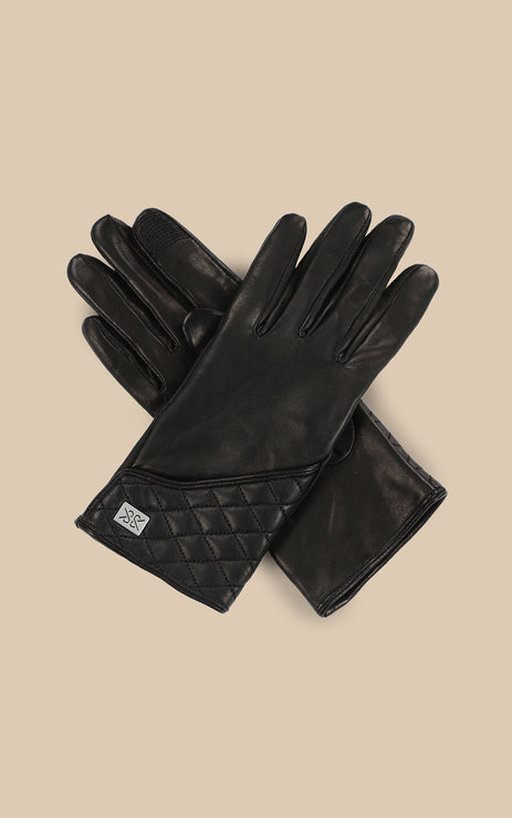 CLAUDEAN QUILTED LEATHER GLOVE (BLACK) SOIA & KYO