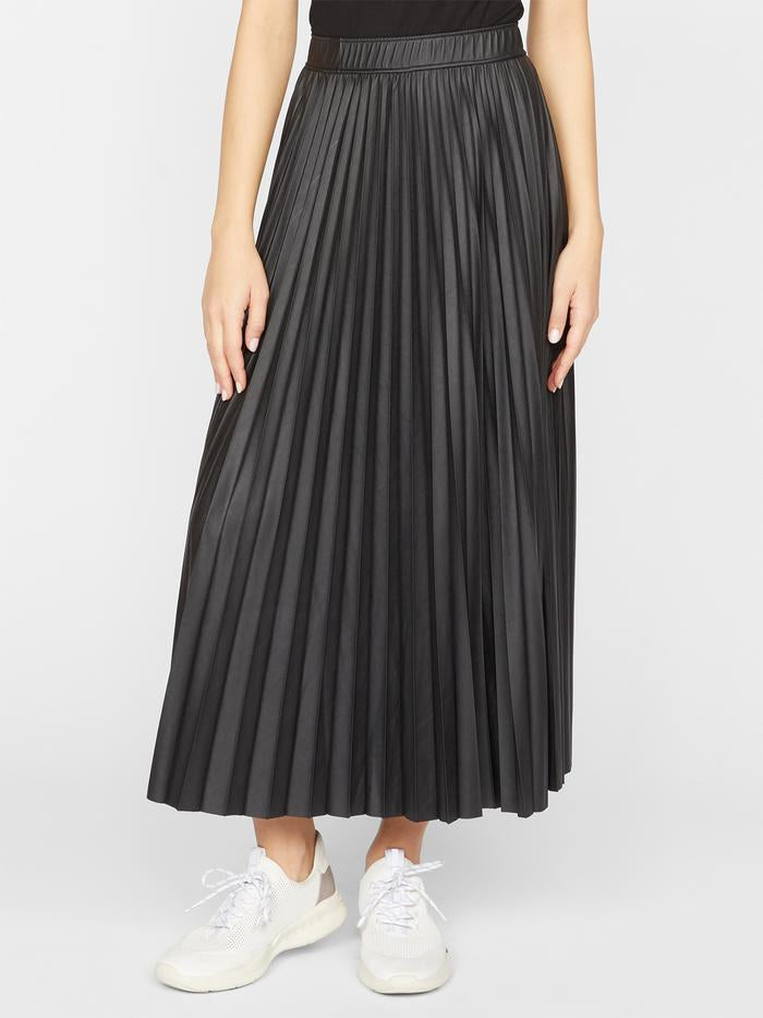TOP SECRET PLEATED VEGAN LEATHER MIDI SKIRT - SANCTUARY