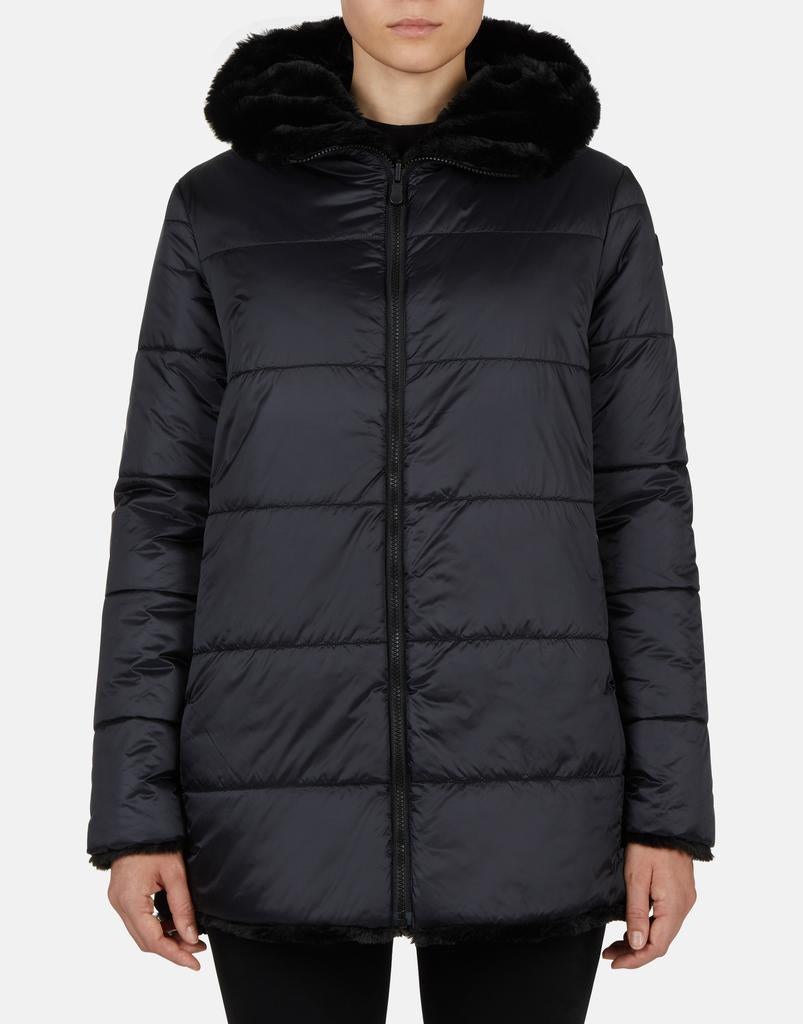 FURYY FAUX FUR HOODED REVERSIBLE COAT (BLACK) - SAVE THE DUCK
