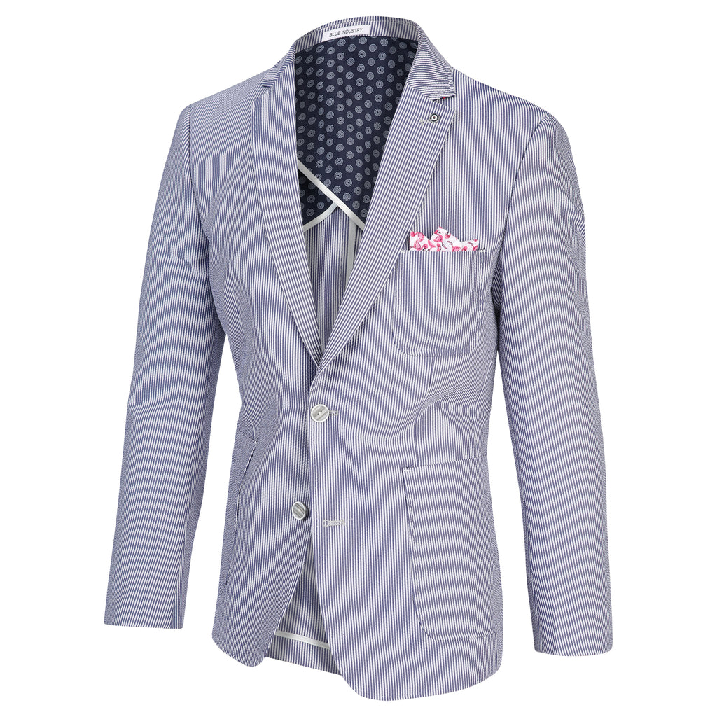 SEERSUCKER BLAZER - BLUE INDUSTRY
