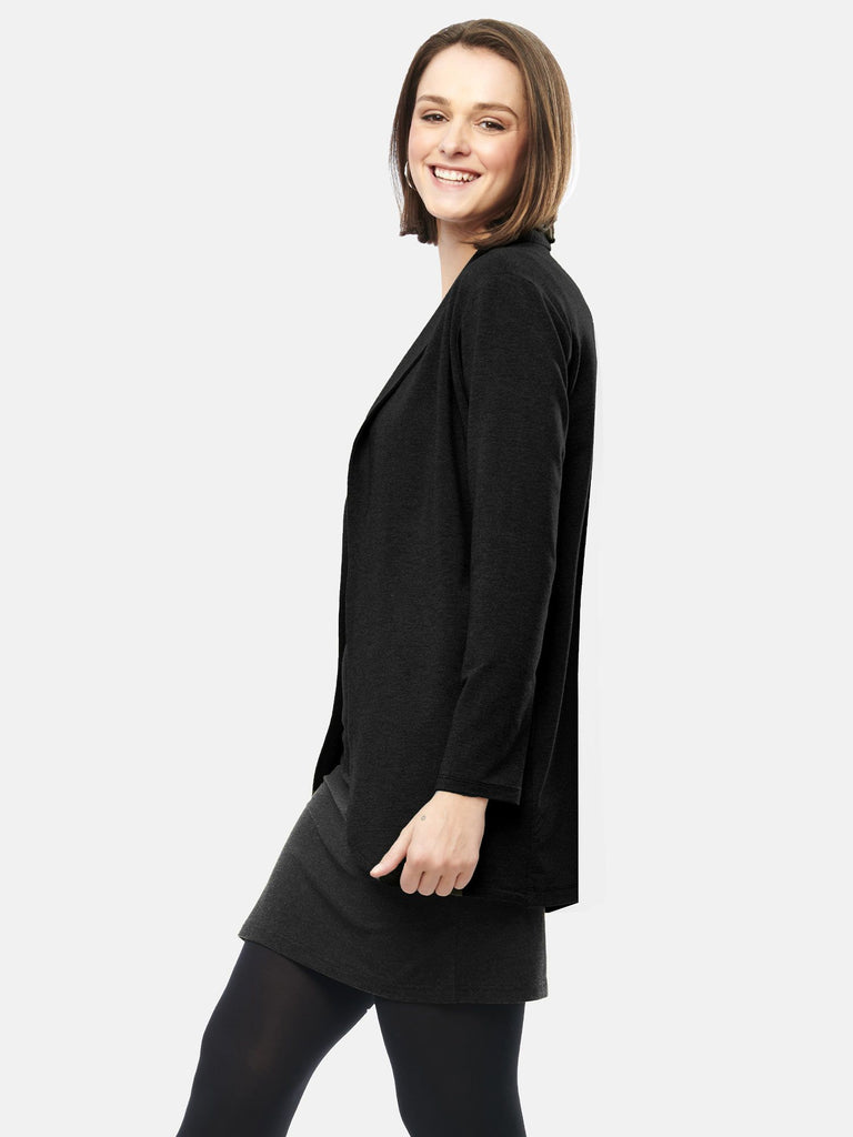 ASHA TAILORED BLAZER WITH POCKETS (BLACK) - MIIK