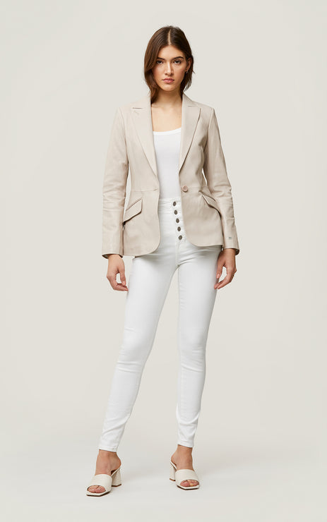 MIA SLIM-FIT LEATHER BLAZER - SOIA & KYO