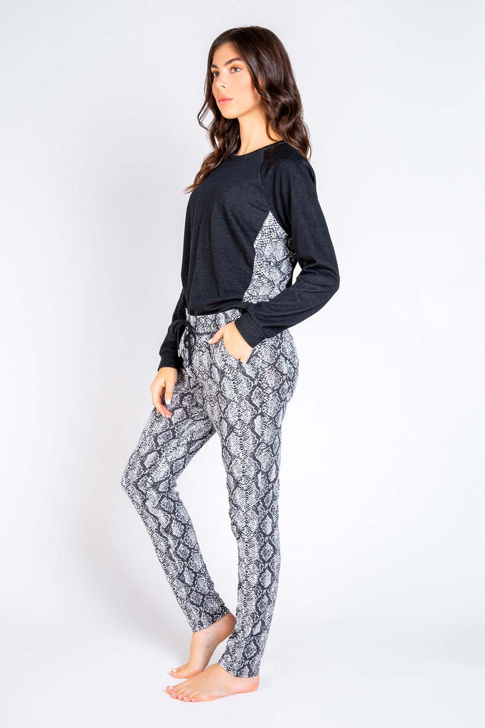 CITY NIGHTS LONG SLEEVE PJ TOP WITH SNAKE SIDE - PJ SALVAGE
