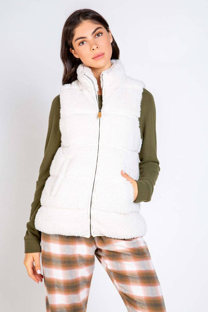COZY CUDDLES VEST (STONE) - PJ SALVAGE