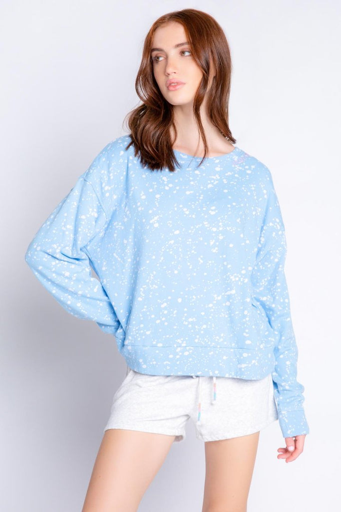 FLICK OF A BRUSH LONG SLEEVE SWEATSHIRT (BLUE) - PJ SALVAGE