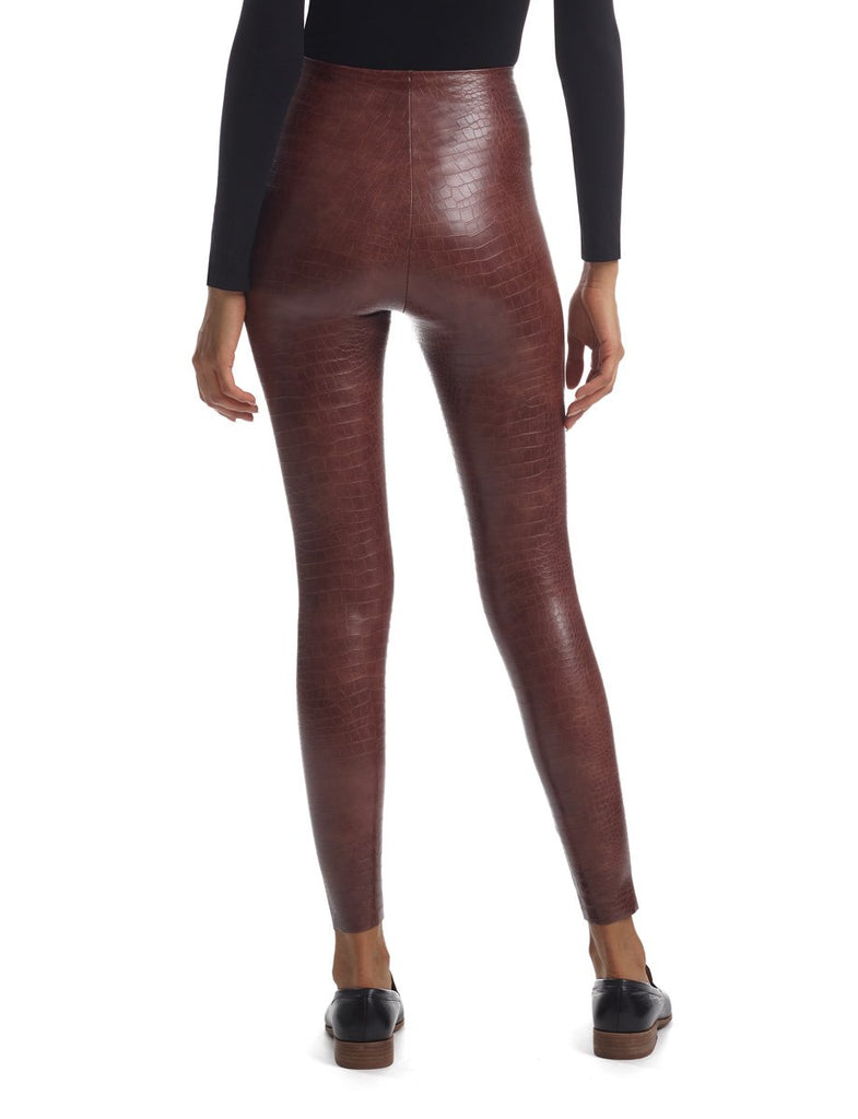 FAUX LEATHER CROC PRINT LEGGING - COMMANDO