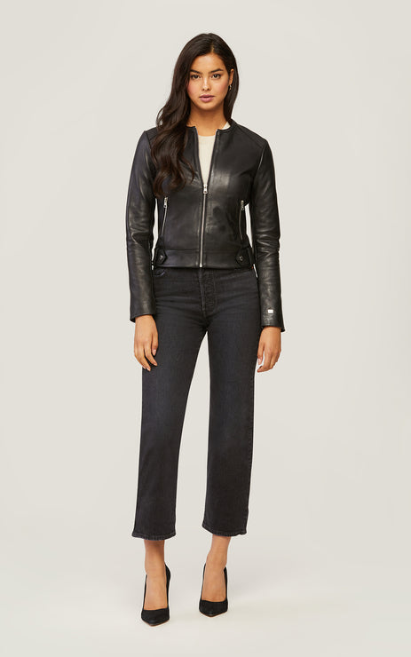 SLOANE SLIM FIT LEATHER JACKET - SOIA & KYO