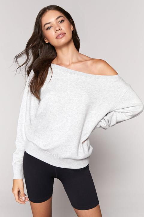 VIDA OFF SHOULDER SWEATSHIRT (HEATHER GREY)- SPIRITUAL GANGSTER