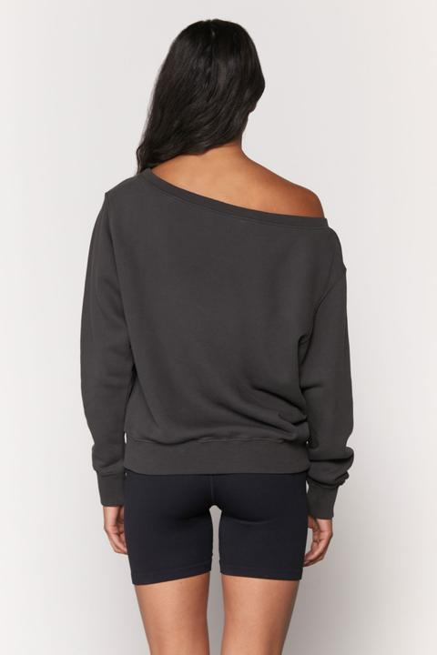 VIDA OFF SHOULDER SWEATSHIRT (VINTAGE BLACK)- SPIRITUAL GANGSTER