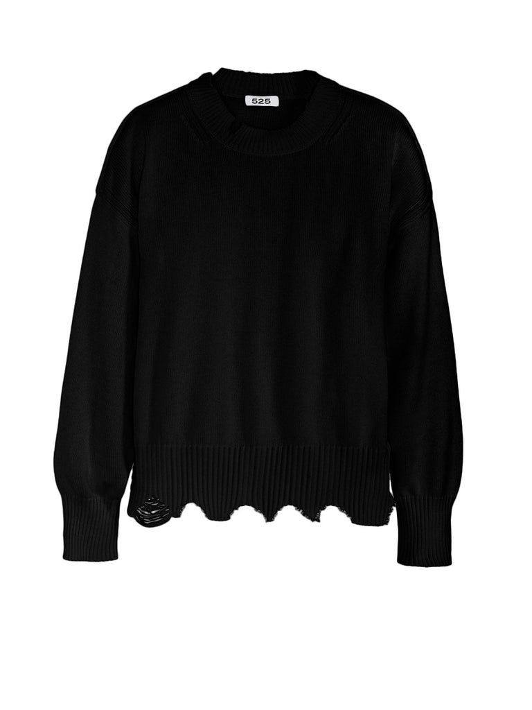 DISTRESSED CREWNECK SWEATER - 525 AMERICA