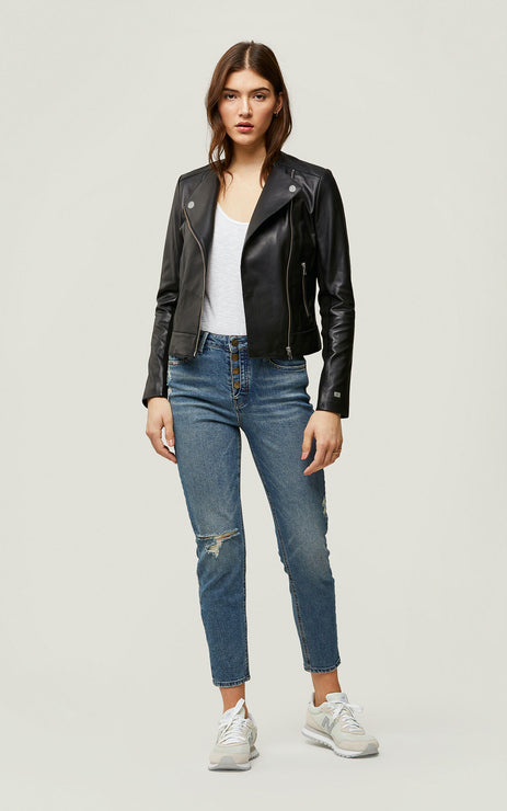 VICTORIA ASYMMETRICAL LEATHER JACKET - SOIA & KYO