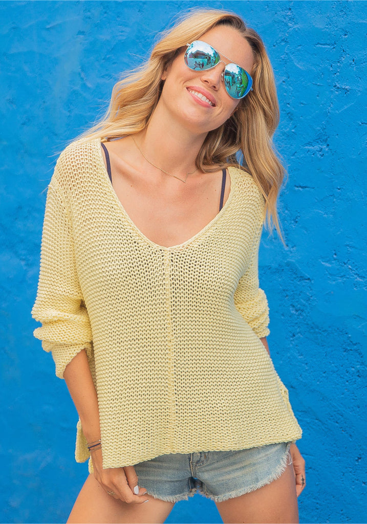 MAUI COTTON V SWEATER- WOODEN SHIPS