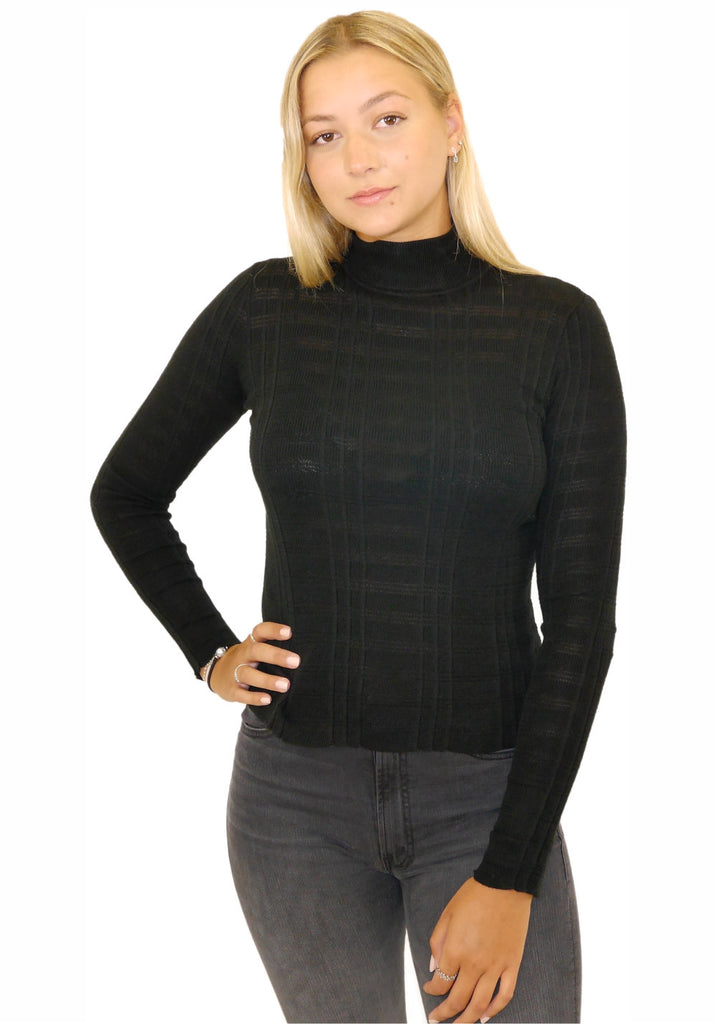 SHADOW STRIPE MOCK NECK SWEATER (BLACK) - AUTUMN CASHMERE
