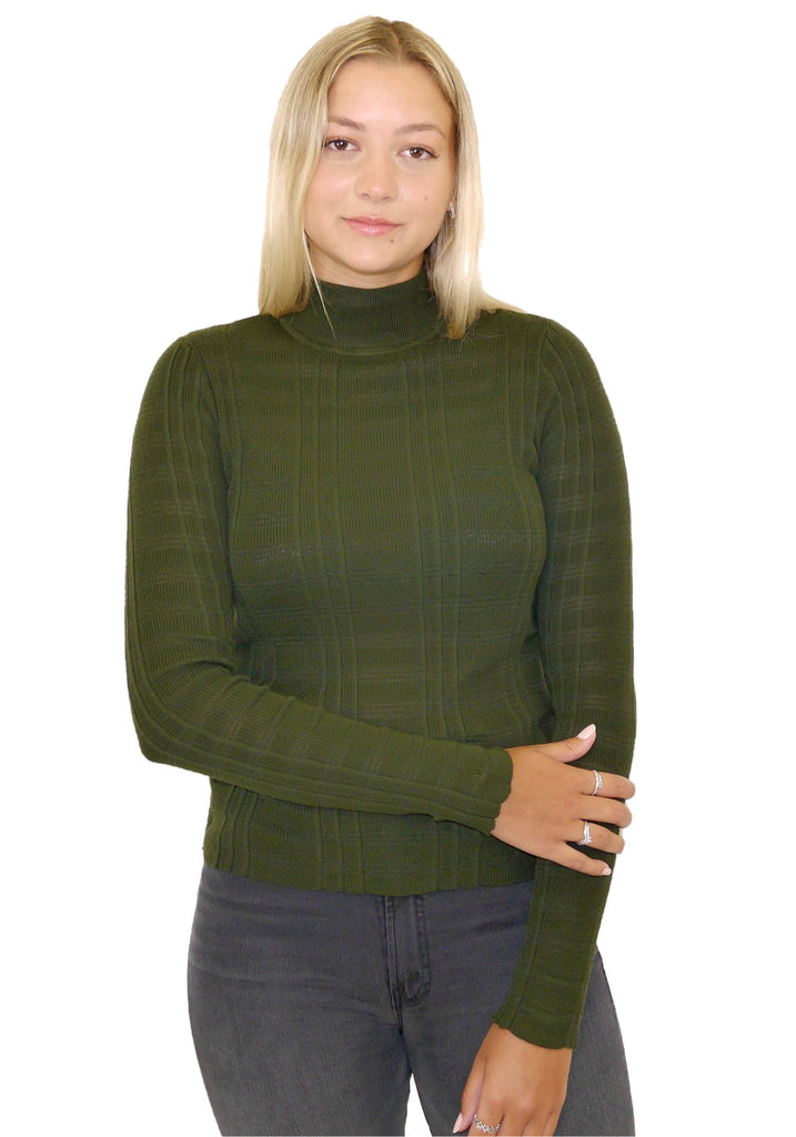SHADOW STRIPE MOCK NECK SWEATER (MOSS) - AUTUMN CASHMERE