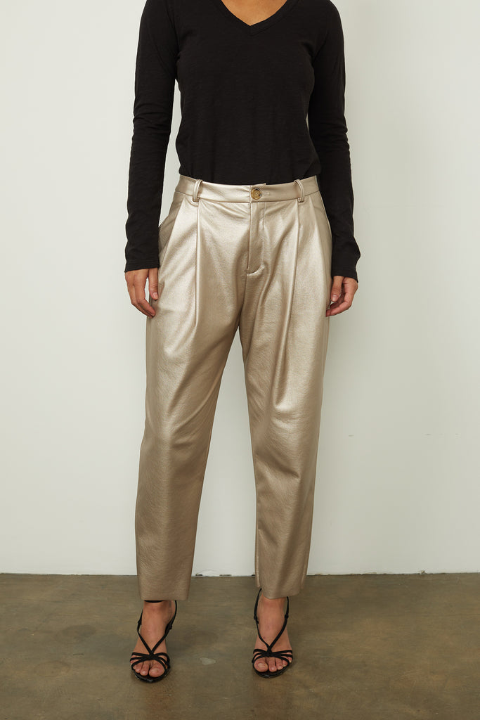 SIMONE METALLIC VEGAN LEATHER PANT (METALLIC) - VELVET