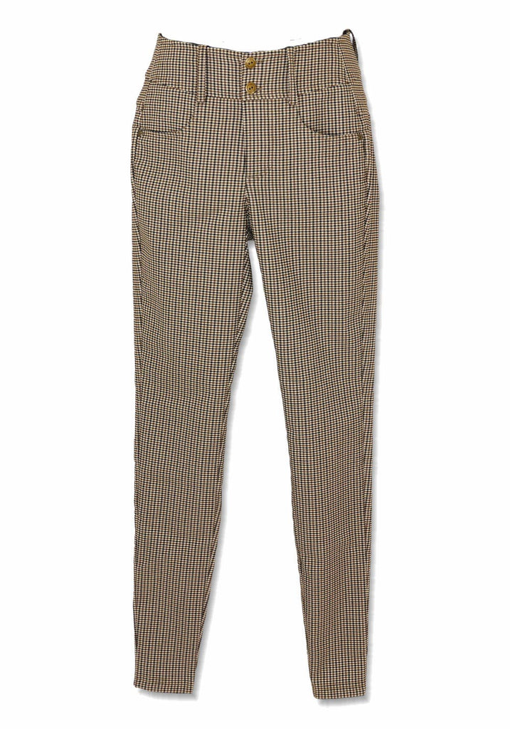 STRETCH TWILL HIGH RISE CHECK PANT (MINI CHECK) - BRENDA BEDDOME