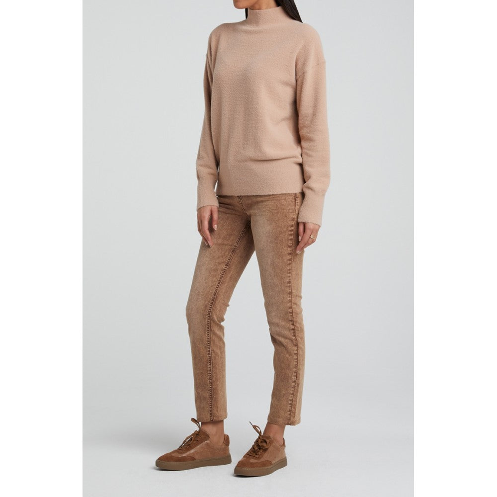 BRUSHED HIGH NECK SWEATER (FADED PINK) - YAYA