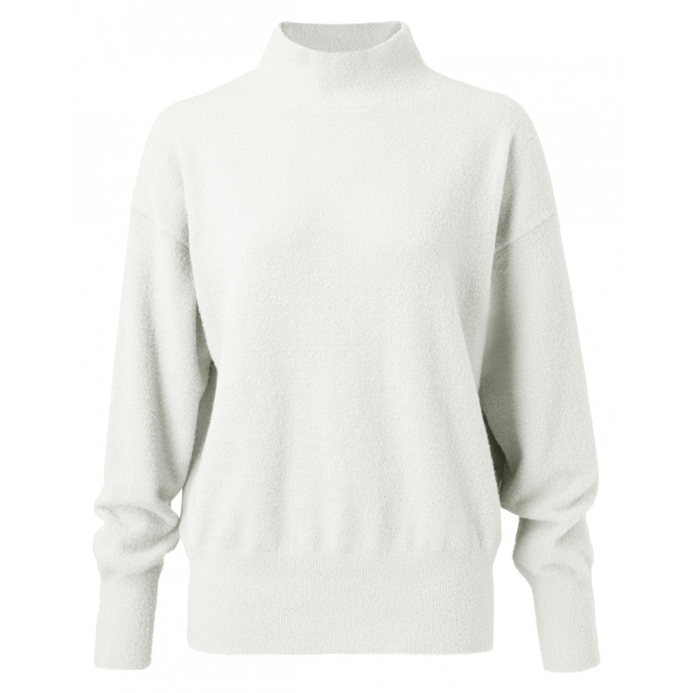 BRUSHED HIGH NECK SWEATER (WHITE) - YAYA