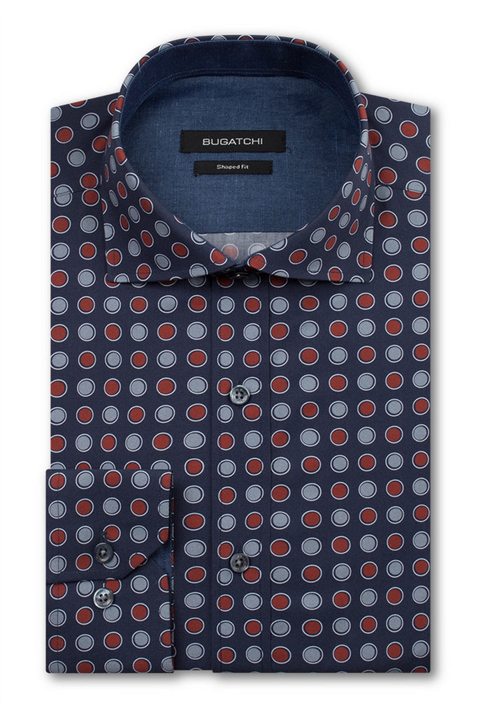 LONG SLEEVE SPORT SHIRT (NAVY/RED) - BUGATCHI
