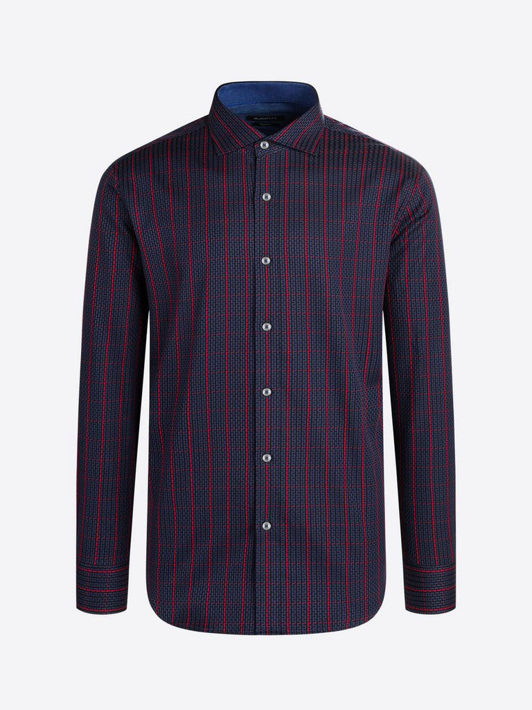 LONG SLEEVE SPORT SHIRT  (NIGHT BLUE) - BUGATCHI