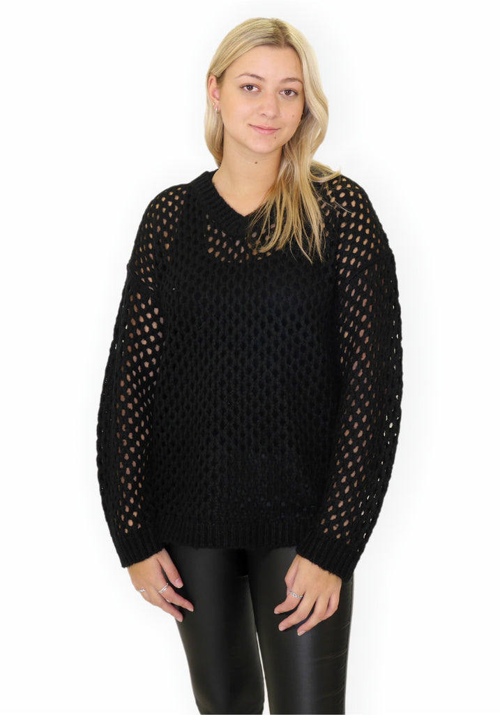 V-NECK PATTERN SWEATER (BLACK) - C'EST MOI