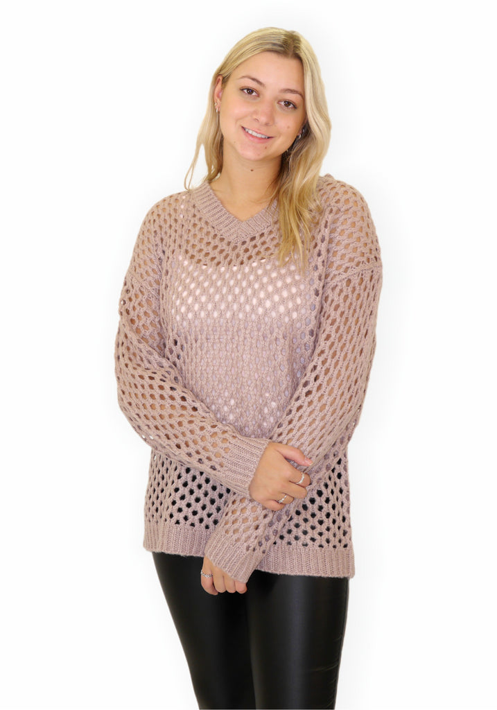 V-NECK PATTERN SWEATER (PINK) - C'EST MOI
