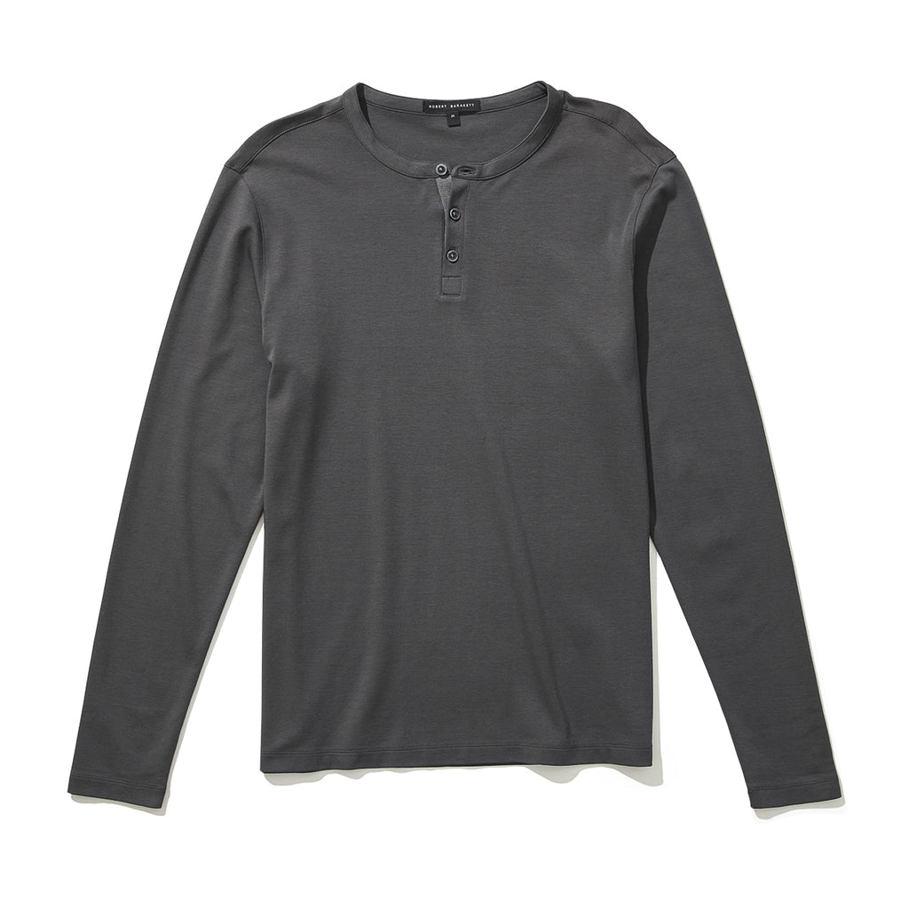 GEORGIA LONG SLEEVE HENLEY (IRON) - ROBERT BARAKETT