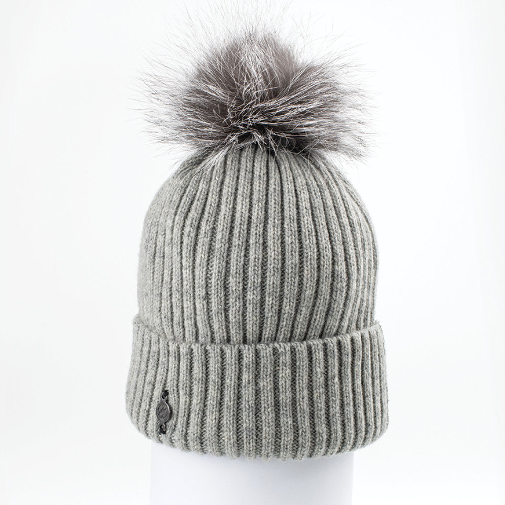 CLASSIC BEANIE WITH UPCYCLED FUR (GREY) - HARRICANA