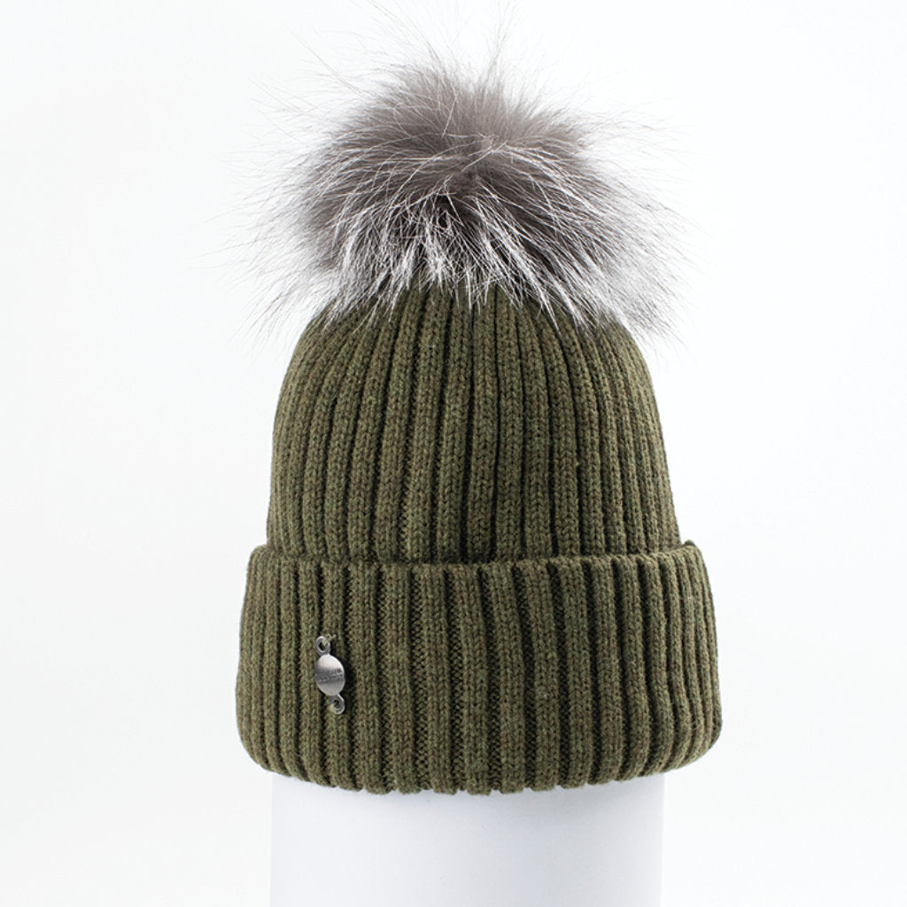 CLASSIC BEANIE WITH UPCYCLED FUR (KHAKI) - HARRICANA