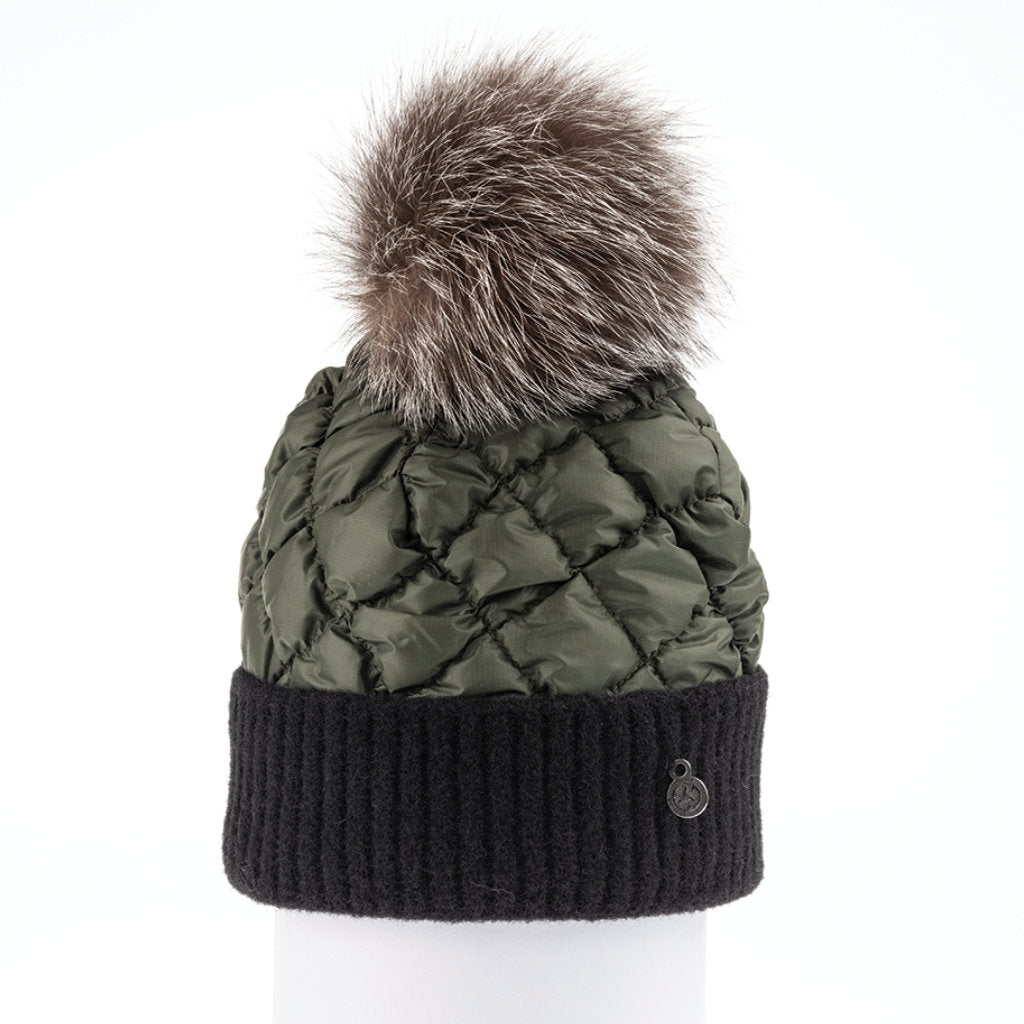 PUFFER BEANIE WITH KNITTED CUFF (KHAKI) - HARRICANA