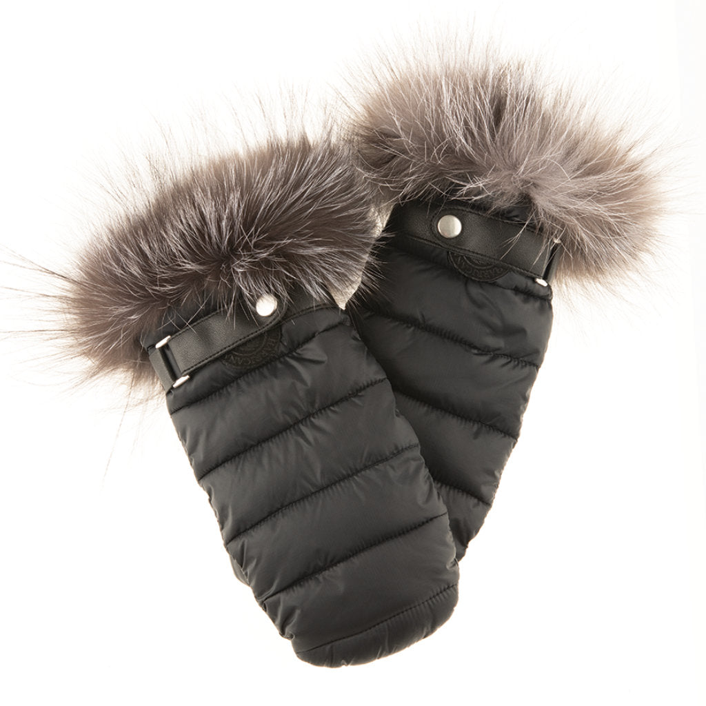 PUFFER MITTS WITH FUR TRIM (BLACK) - HARRICANA