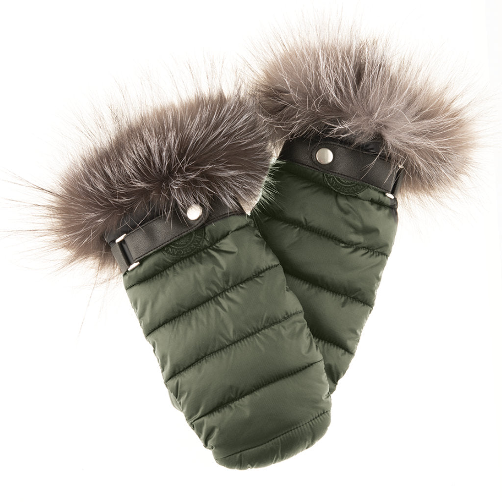 PUFFER MITTS WITH FUR TRIM (KHAKI) - HARRICANA
