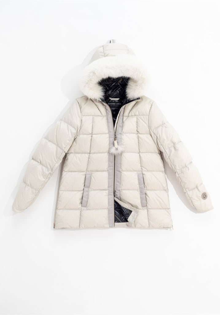 SHORT A-LINE DOWN COAT WITH UPCYCLED FUR (BEIGE) - HARRICANA