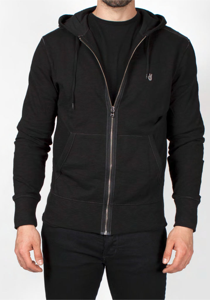 FULL ZIP PEACE SIGN HOODIE - JOHN VARVATOS