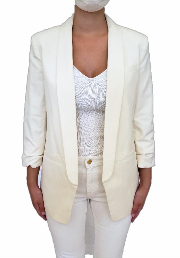 RUCHED SLEEVE BLAZER (BONE) - MICHAEL KORS