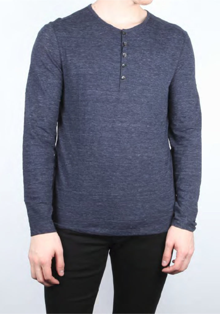 MELANGE LONG SLEEVE KNIT KNIT HENLEY - JOHN VARVATOS