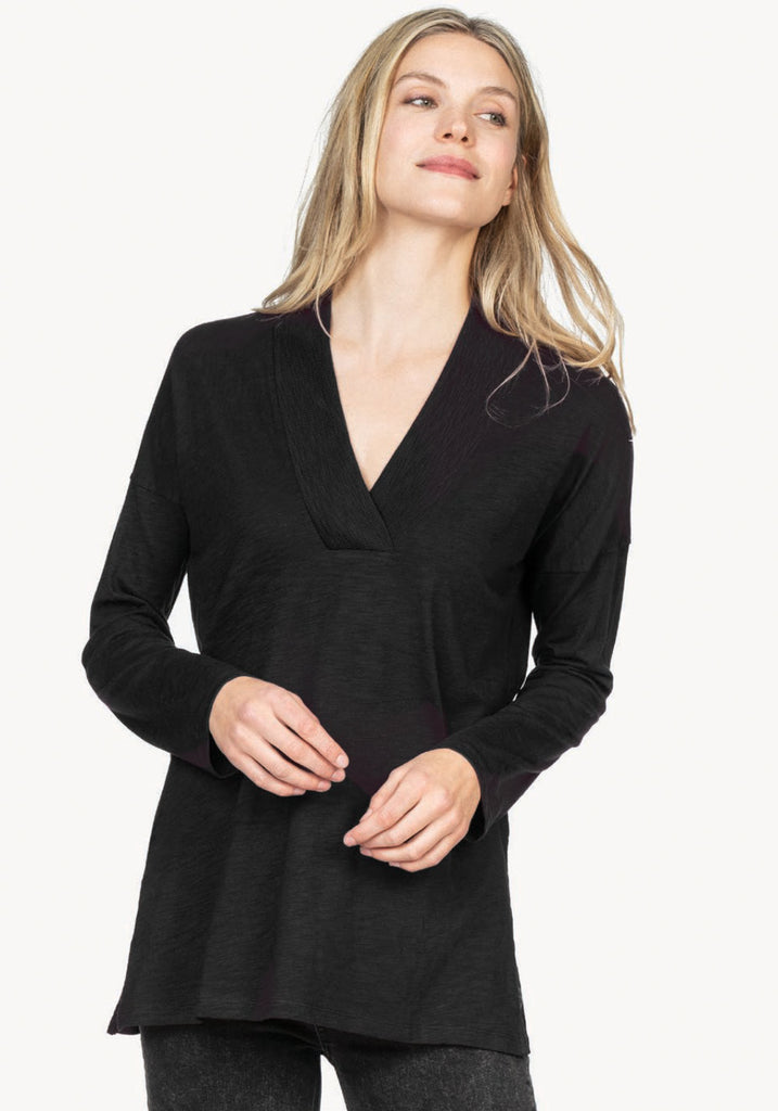 RIBBED COLLAR TUNIC (BLACK) - LILLA P