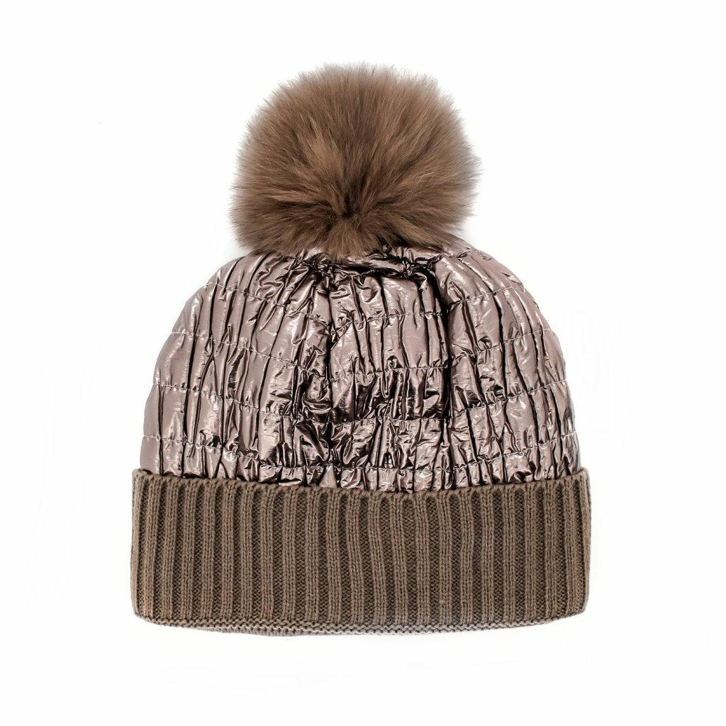 NYLON QUILTED HAT WITH POM POM (BRONZE) - MITCHIE'S