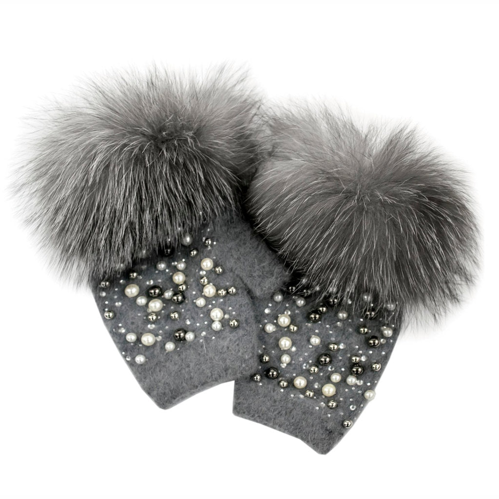 FINGERLESS GLOVES WITH PEARL DETAILS (GREY) - MITCHIE'S