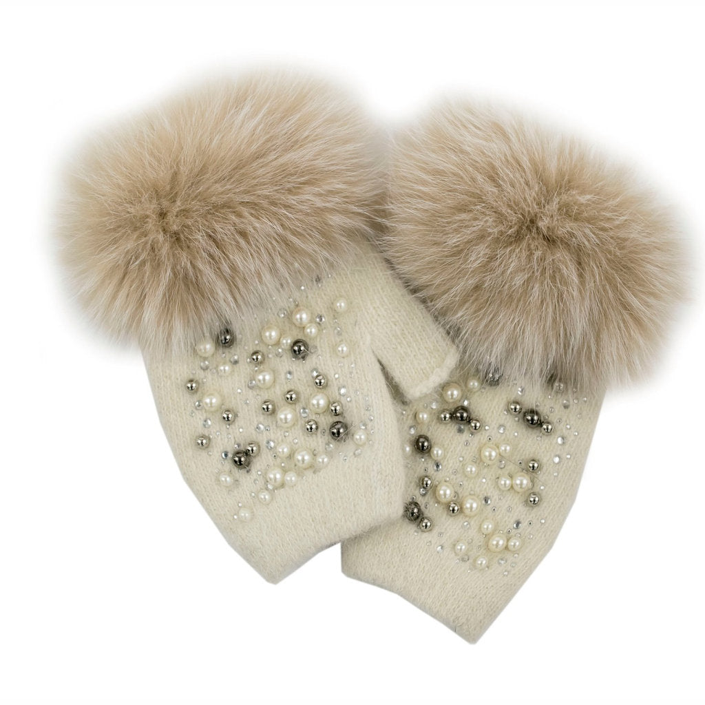 FINGERLESS GLOVES WITH PEARL DETAILS (IVORY) - MITCHIE'S