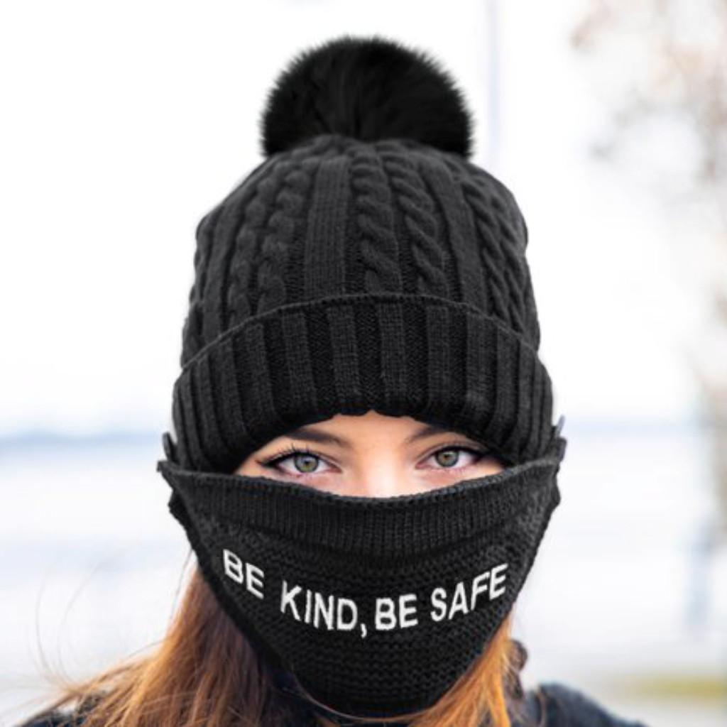 'BE KIND, BE SAFE' KNIT HAT WITH FACE COVER - MITCHIE'S