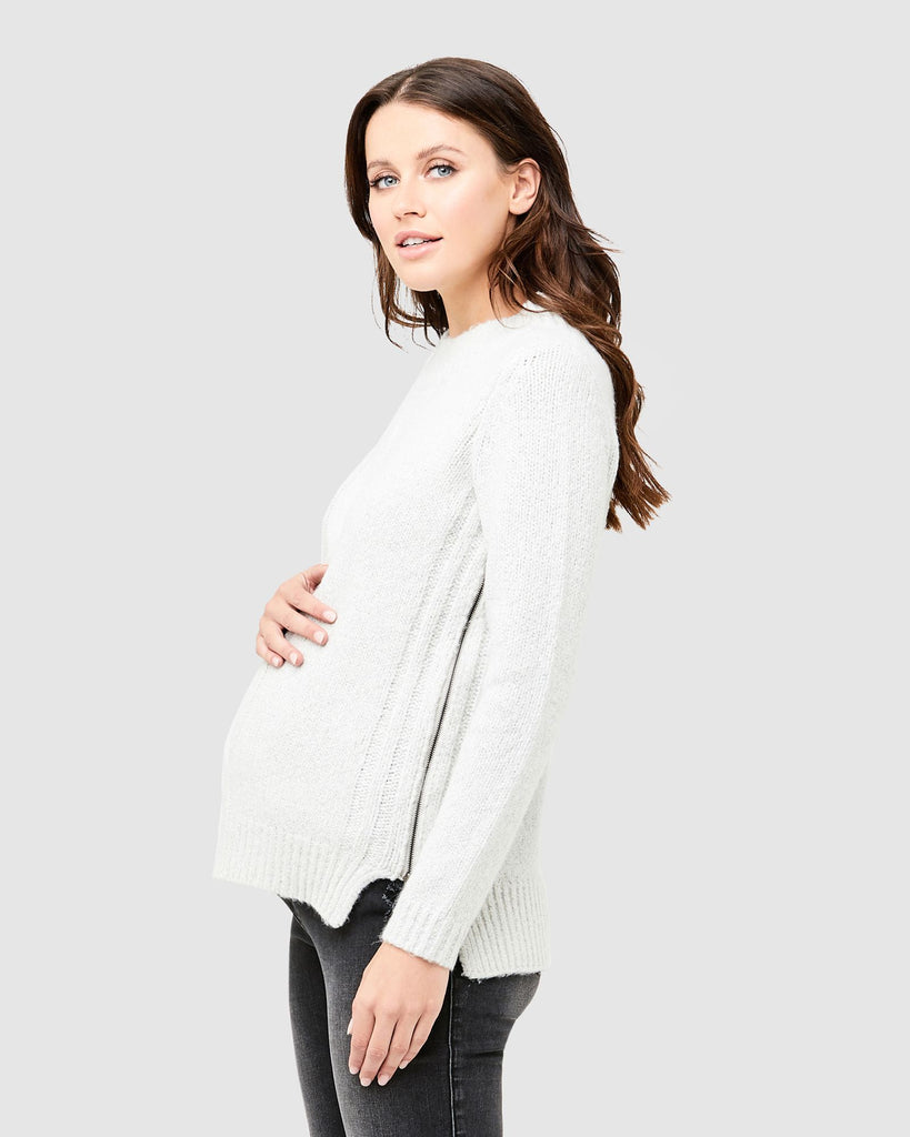 CABLE KNIT NURSING SWEATER - RIPE MATERNITY