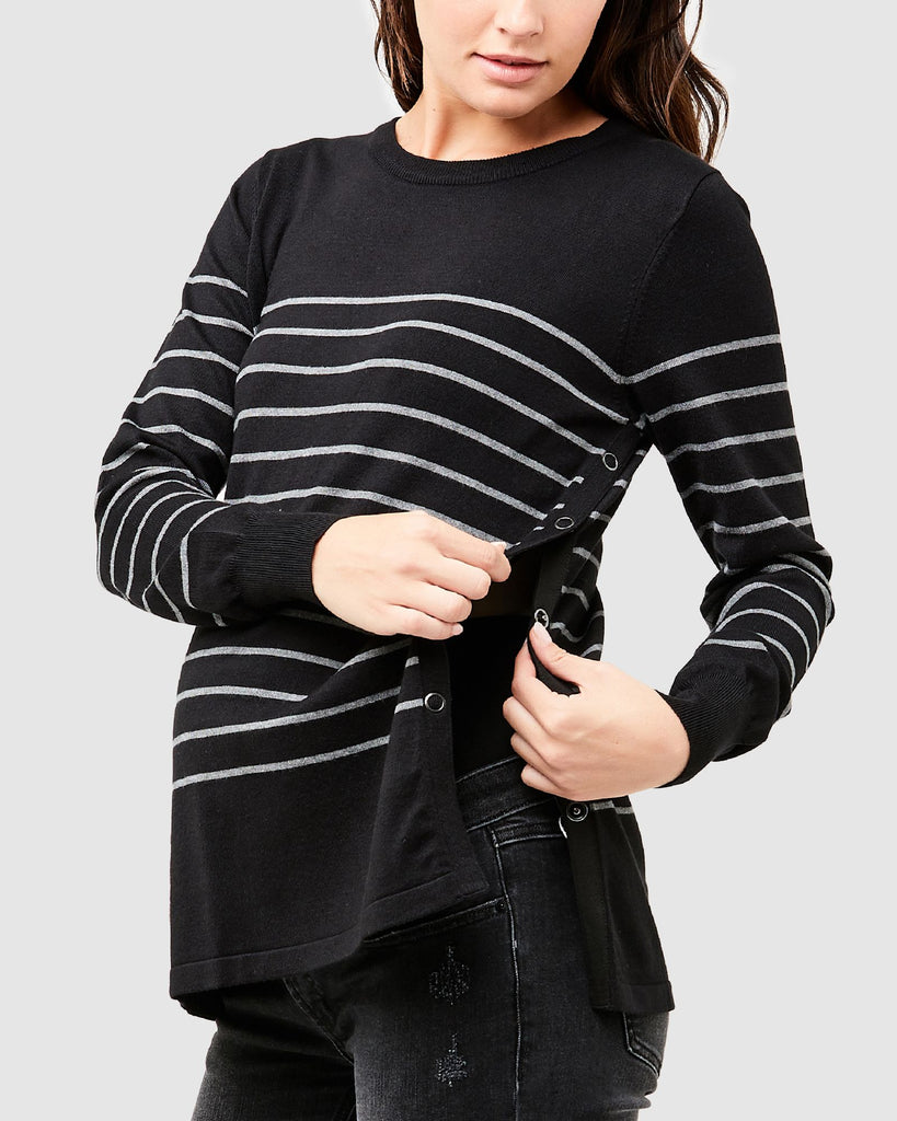 BUTTON UP NURSING SWEATER - RIPE MATERNITY