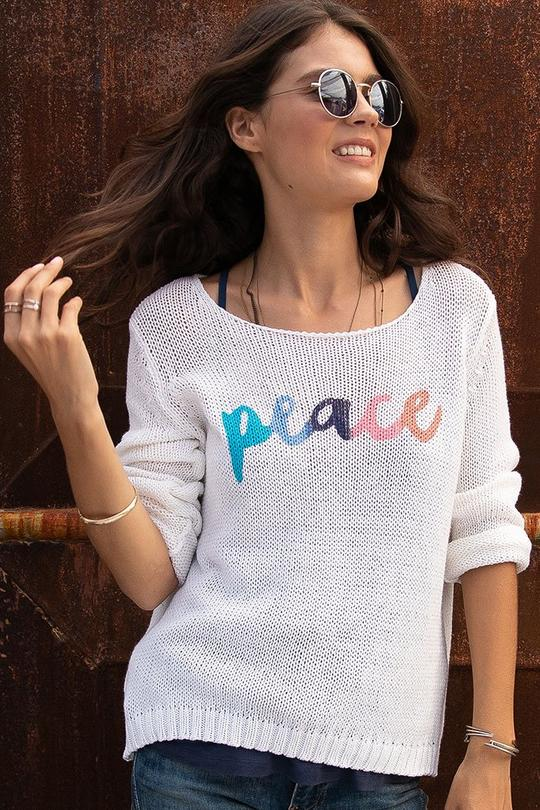 PEACE COTTON CREW SWEATER - WOODEN SHIPS