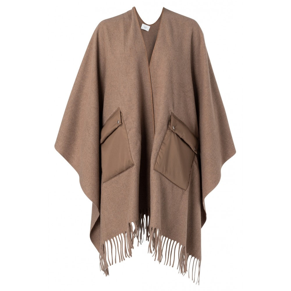 PONCHO WITH UTILITY POCKETS (BEIGE) - YAYA