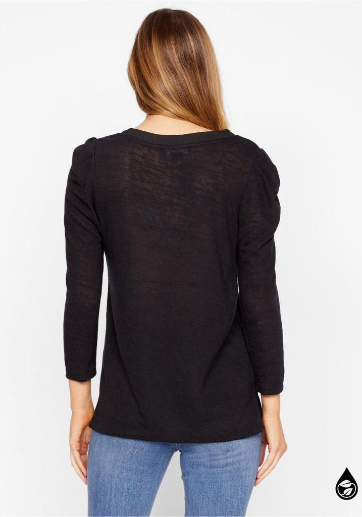 HANNA PLEATED SLEEVE TOP (BLACK) - SANCTUARY