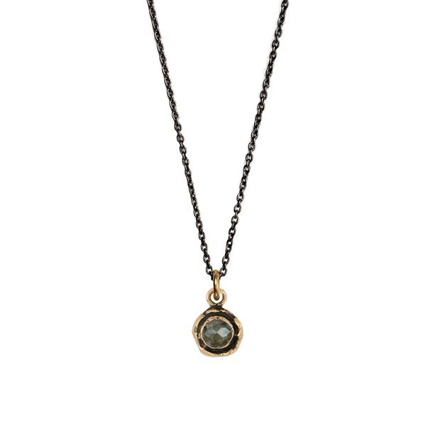 SMALL LABRADORITE FACETED STONE NECKLACE - PYRRAH