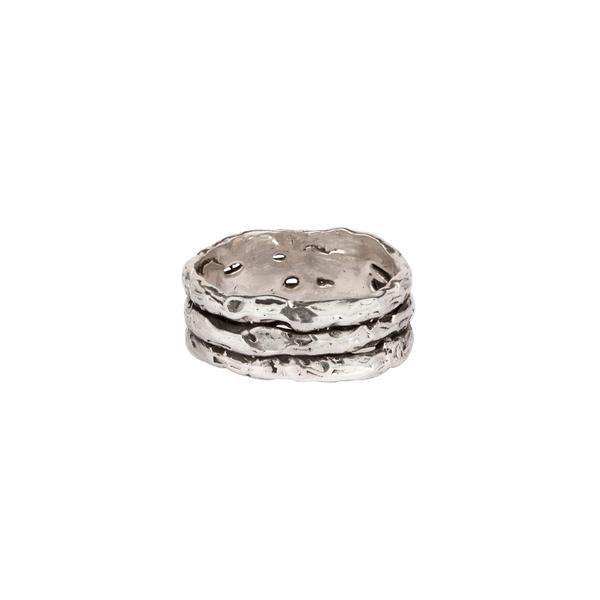 TRIPLE NARROW TEXTURE BAND RING - PYRRAH